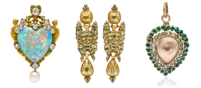 Three beautiful antique pieces from Leslie Hindman Auctioneers' December Important Jewelry Sale.