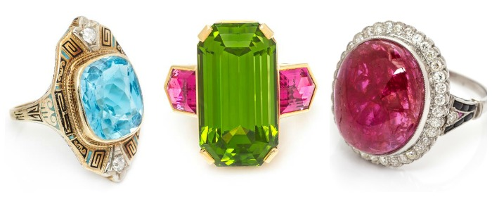 Three colorful gemstone rings from Leslie Hindman Auctioneers' December Important Jewelry Sale.