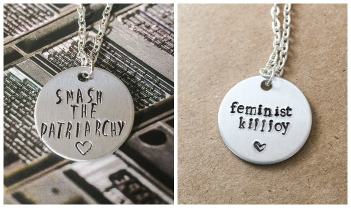 A Smash the Patriarchy and a Feminist Killjoy necklace.