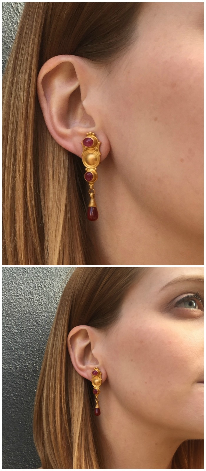 A beautiful pair of gold and gemstone earrings by Reinstein Ross.