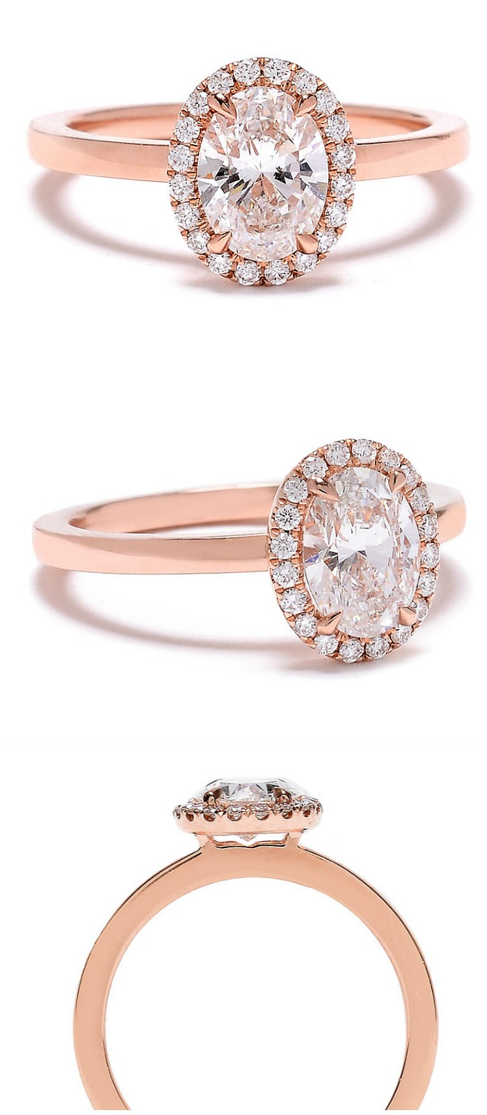A beautiful rose gold engagement ring from Sylvie Collection, with a lovely oval center stone.