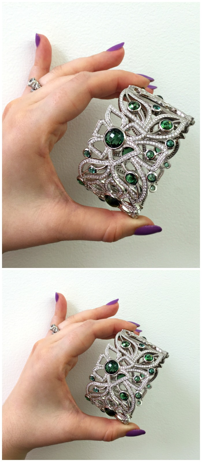 A fantastic gemstone and diamond cuff bracelet by Carelle. I love this floral design!