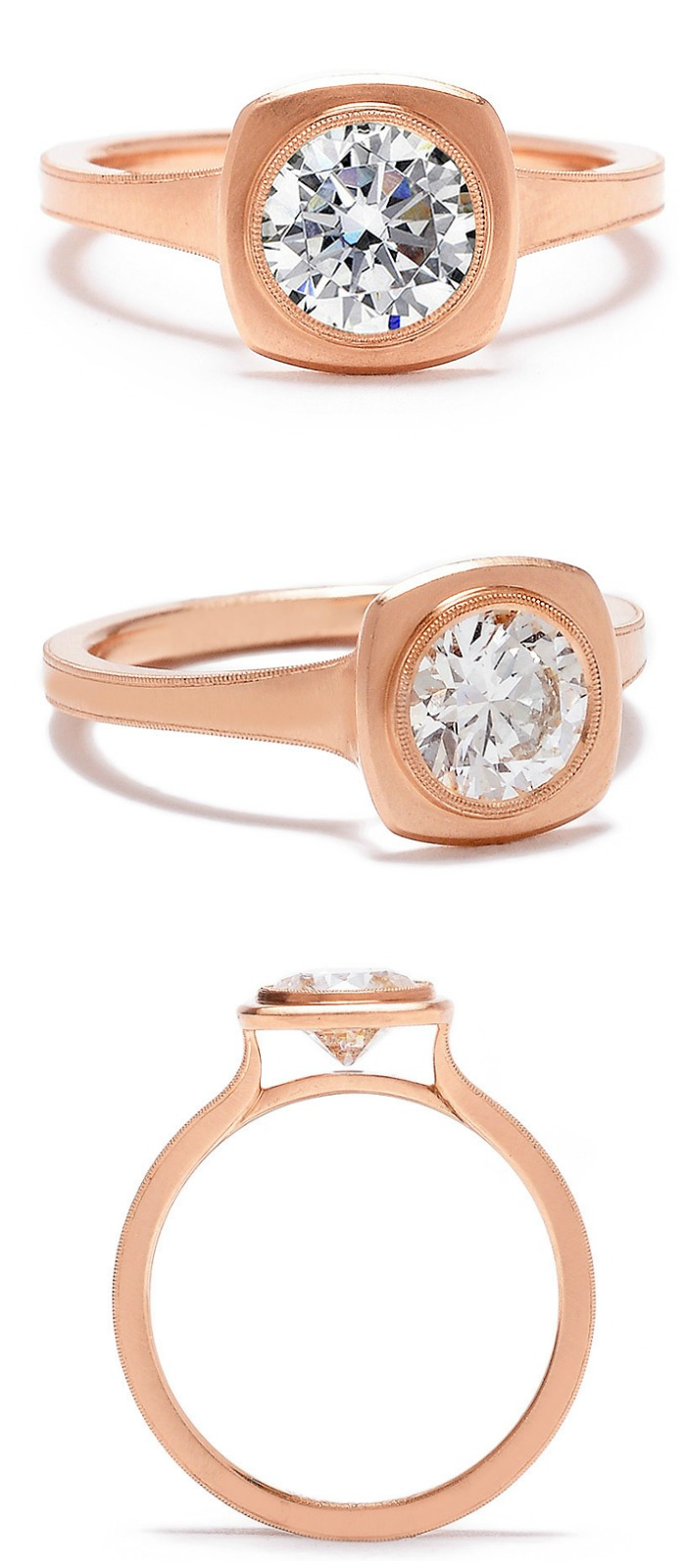Erika Winters' Jin bezel-set diamond engagement ring in rose gold.