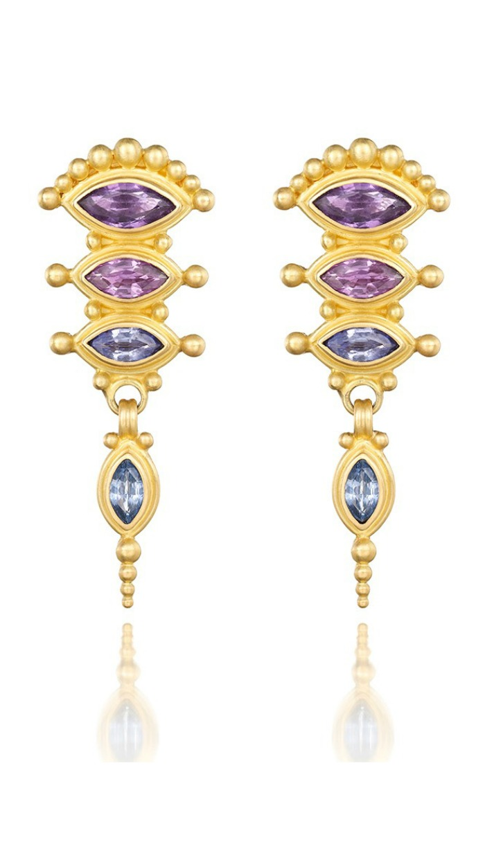 Reinstein Ross Balinese umbrella earrings in gold with gemstones.