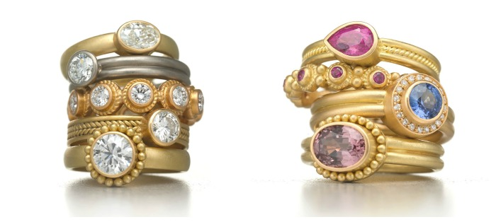 Rings by Reinstein Ross, in gold with diamonds and colored gemstones.
