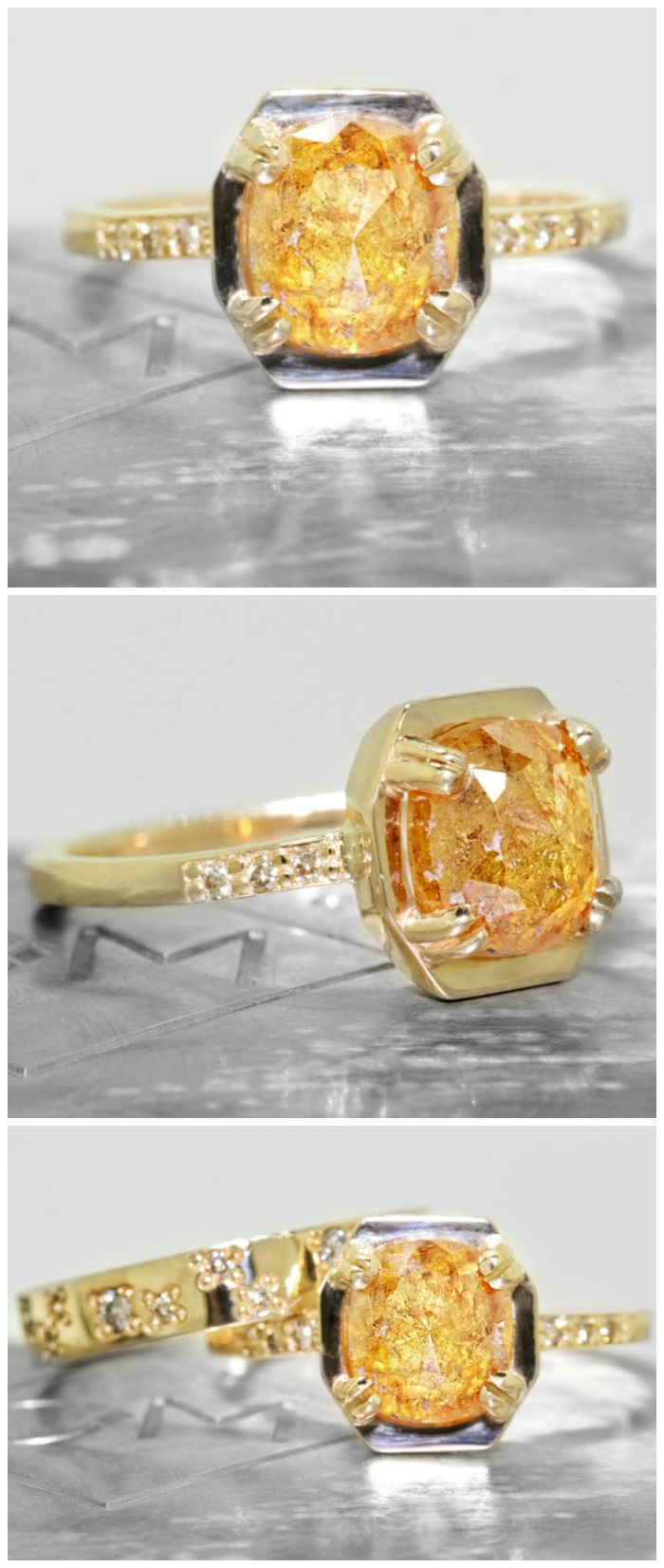A 3.1 carat amber colored diamond engagement ring from Chinchar Maloney's The New Classic Collection.