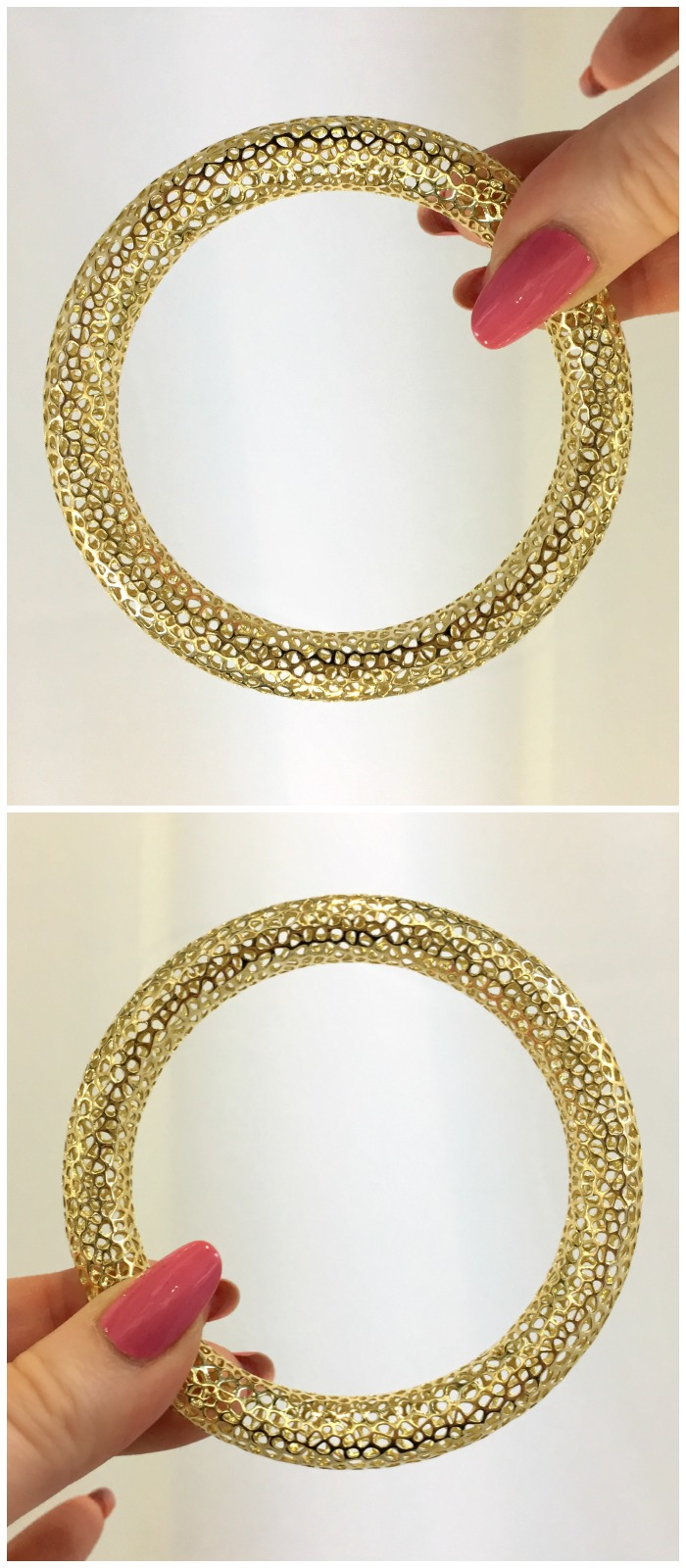 A Vitae Ascendere bangle in the brand's signature gold metal lace. Spotted at Metal and Smith.