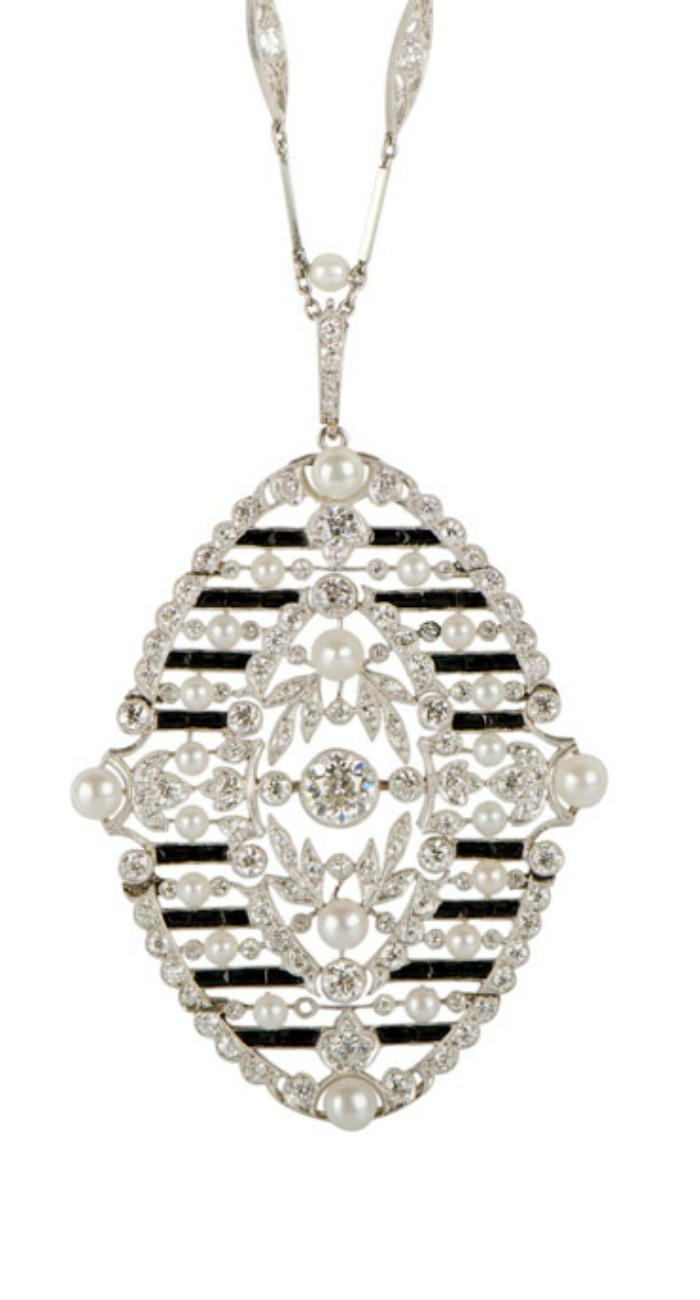 A beautiful antique Edwardian onyx and diamond necklace. At M. Khordipour.