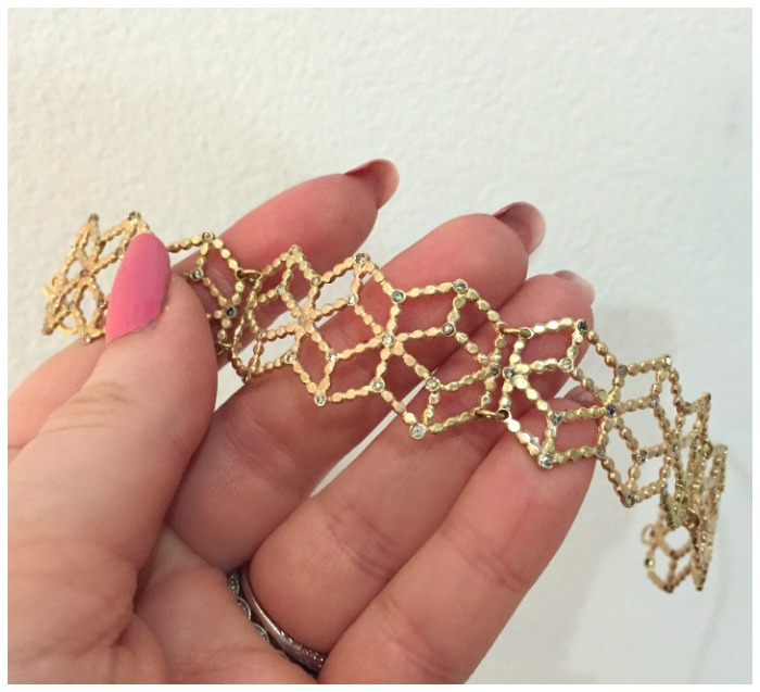 A beautiful handmade gold and diamond bracelet by Sophie Ratner.