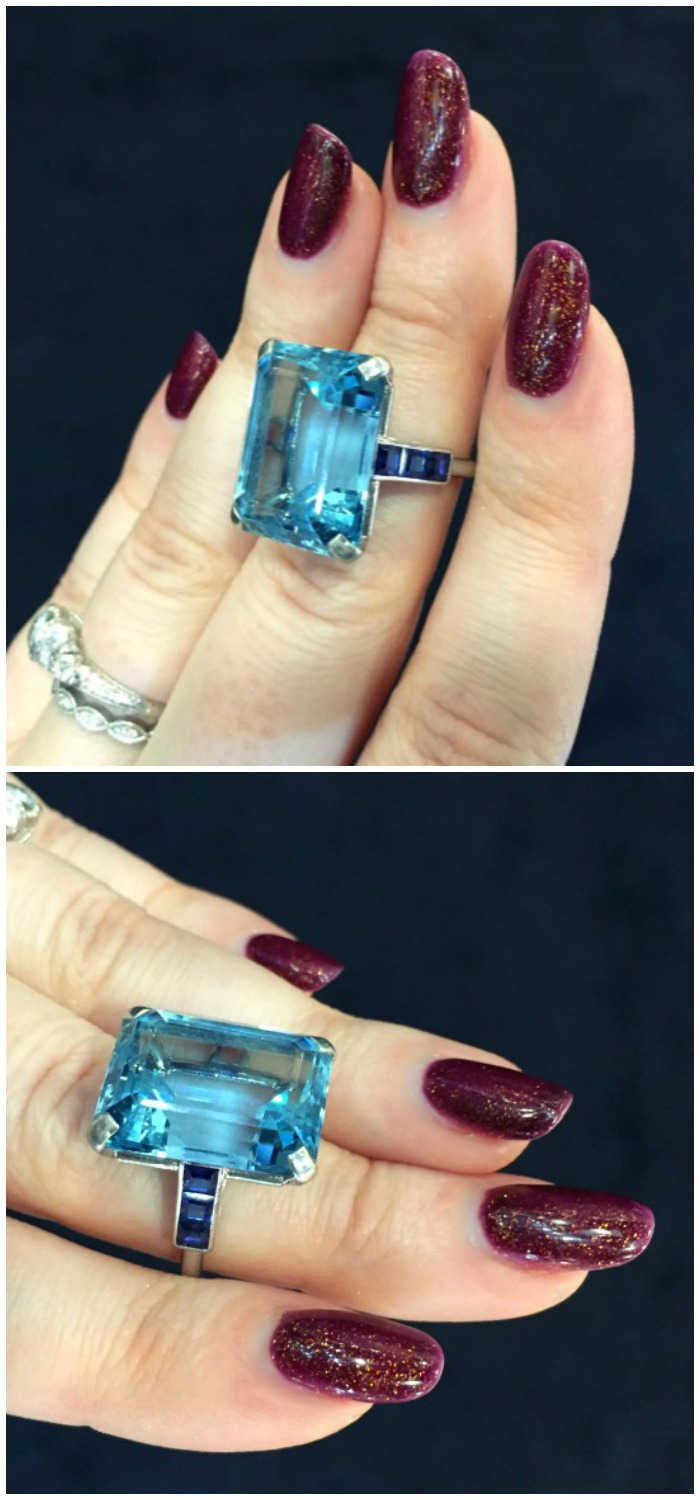 A fantastic vintage ring by Cartier with aquamarine and sapphires. At Hancock's.
