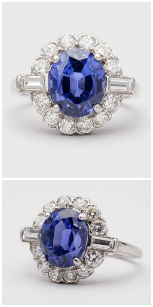 A stunning 5.23 ct Ceylon sapphire and diamond ring.