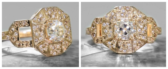A yellow gold and diamond ring from Chinchar Maloney's The New Classic Collection.