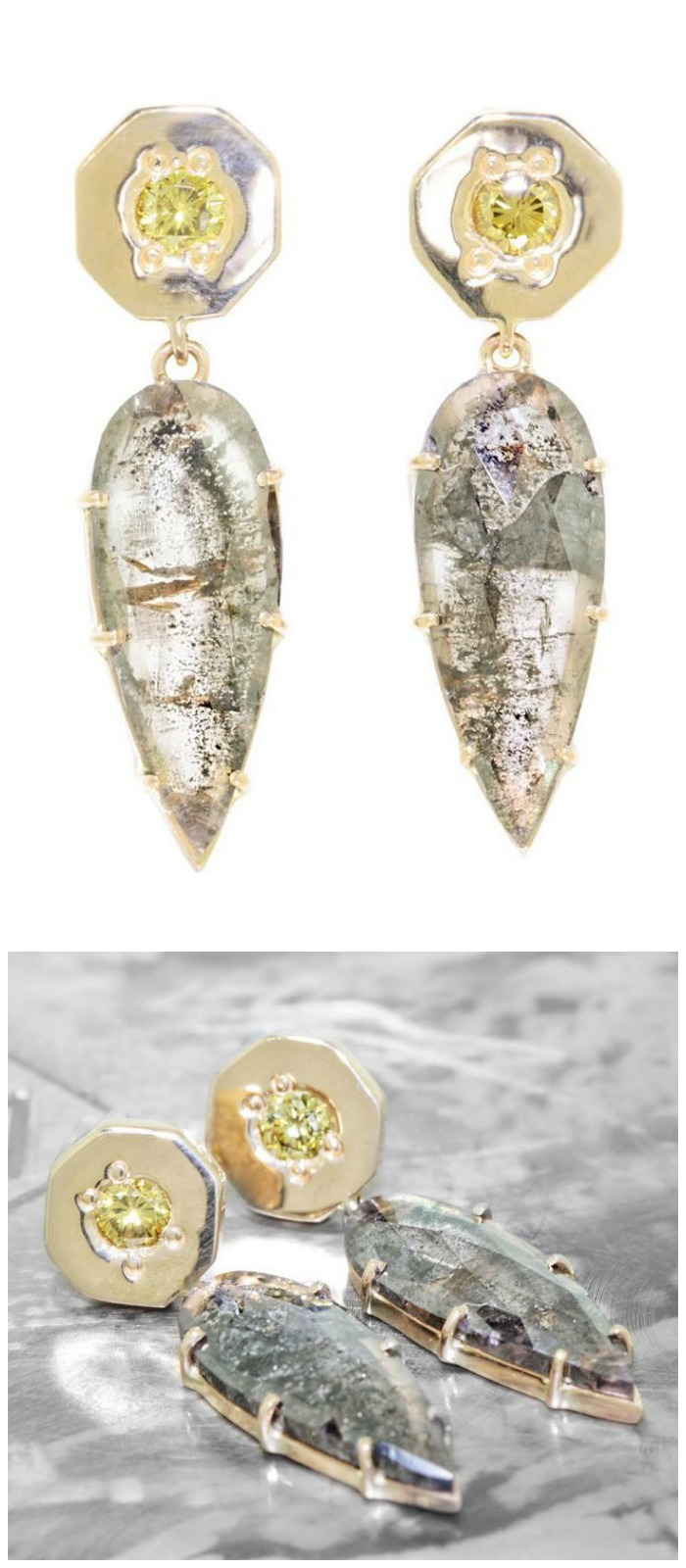 Chinchar Maloney earrings in yellow gold with with 3.56 carat salt and pepper diamonds.
