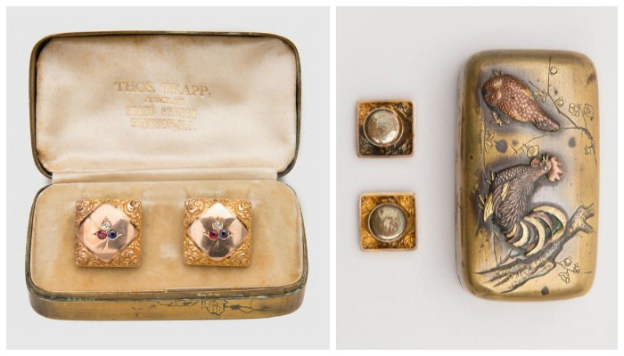 Diamond, ruby, and sapphire set cufflinks in an original Japanese metal box with a farm scene.