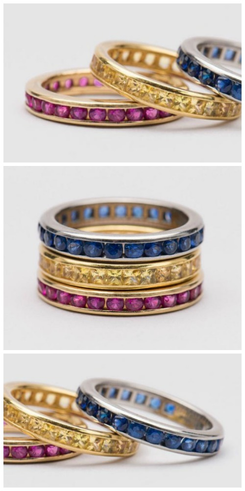 Three eternity band rings from an upcoming auction on Bidsquare. 14K yellow gold with rubies, platinum with blue sapphires, and 18K gold with yellow sapphires.