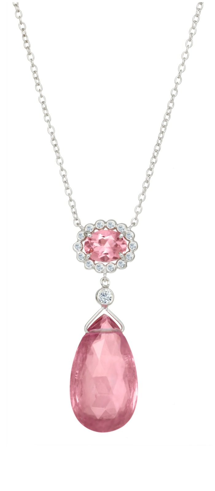 A Suzy Landa pink tourmaline necklace in white gold with diamonds.