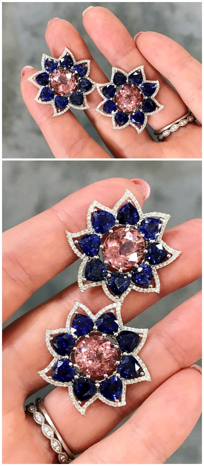 A beautiful pair of Campbellian Collection earrings in pink tourmaline and sapphire with diamonds.