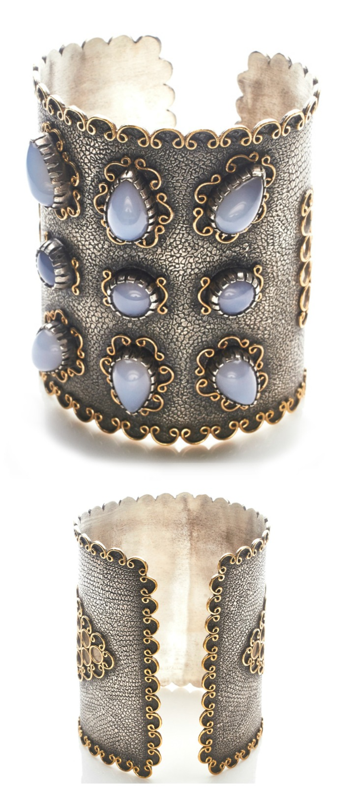 A magnificent cuff bracelet by Stella Flame jewelry. With chalcedony stones.