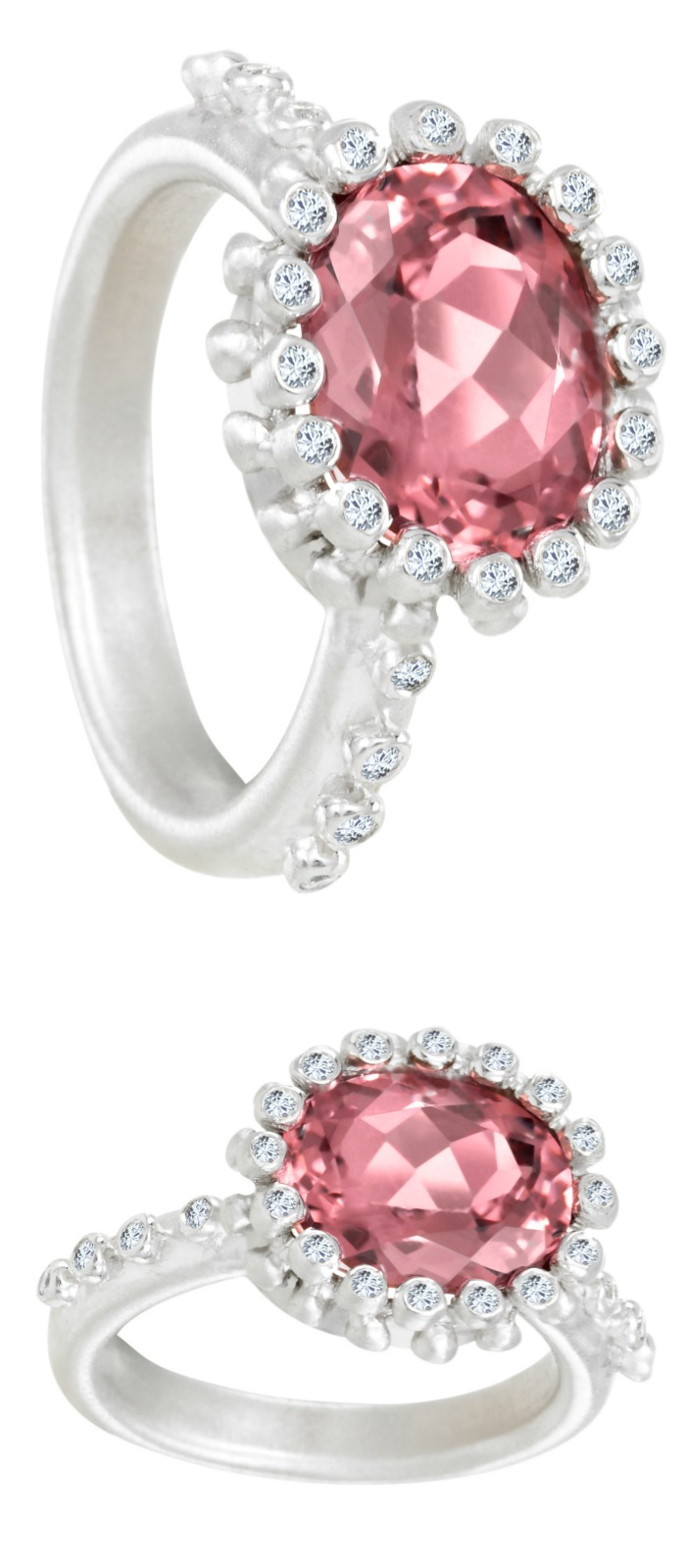 A pink tourmaline ring by Suzy Landa. In white gold with diamonds.