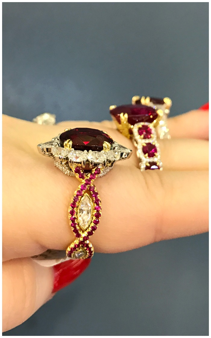 A trio of crazy beautiful ruby rings from Omi Prive.