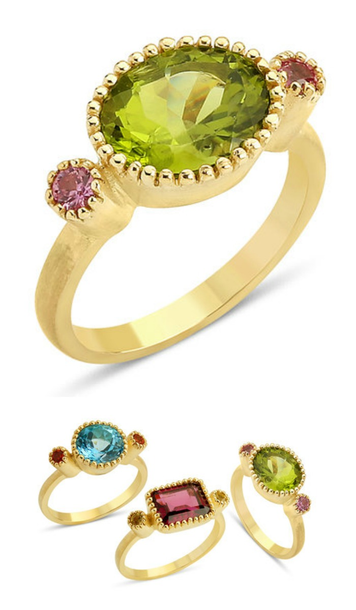 Stella Flame's Blossom Oval Ring - with peridot and sapphires.