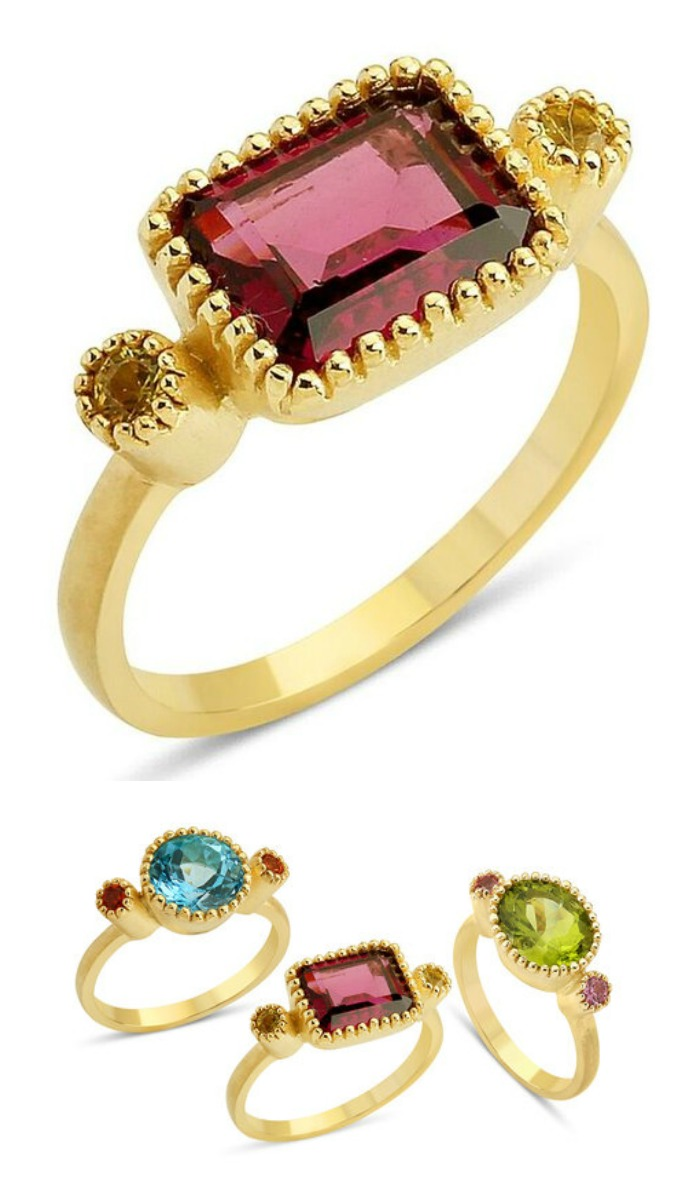Stella Flame's Blossom Oval ring with beautiful colorful gemstones.