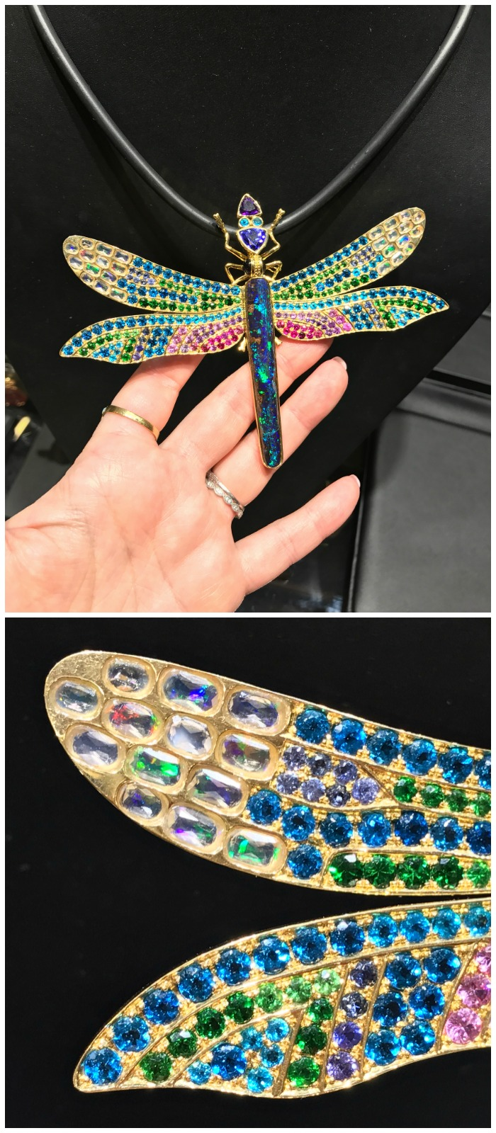 This dragonfly pendant from Paula Crevoshay is a masterpiece of colored gemstones.
