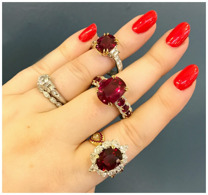 Three crazy beautiful ruby rings from Omi Prive.