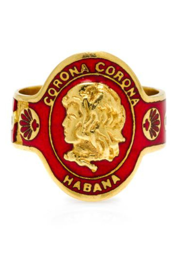 A classic Cartier cigar band ring in yellow gold and rich, red enamel. Someday I'll own one of these.