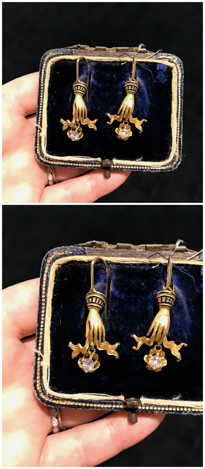 A fantastic pair of antique earrings from Lenore Dailey. From the Original Miami Antique Show.