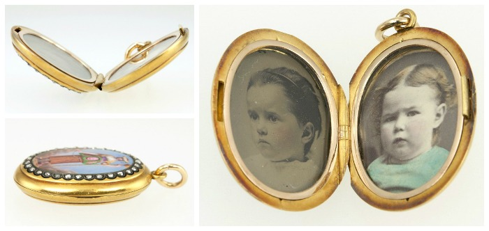 A fantastically unusual antique locket from Craig Evan Small. Inside and outside views. Seen at the Original Miami Antique Show.