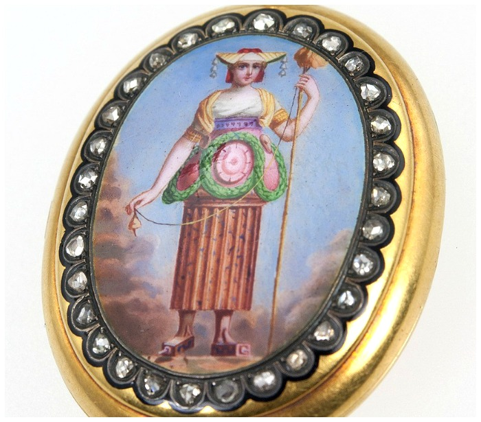 A fantastically unusual antique locket from Craig Evan Small. Seen at the Original Miami Antique Show.
