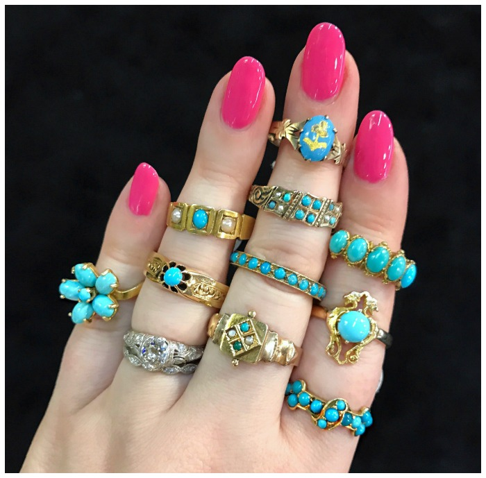 A handful of turquoise rings from The Gold Hatpin. Spotted at the Original Miami Antique Show.