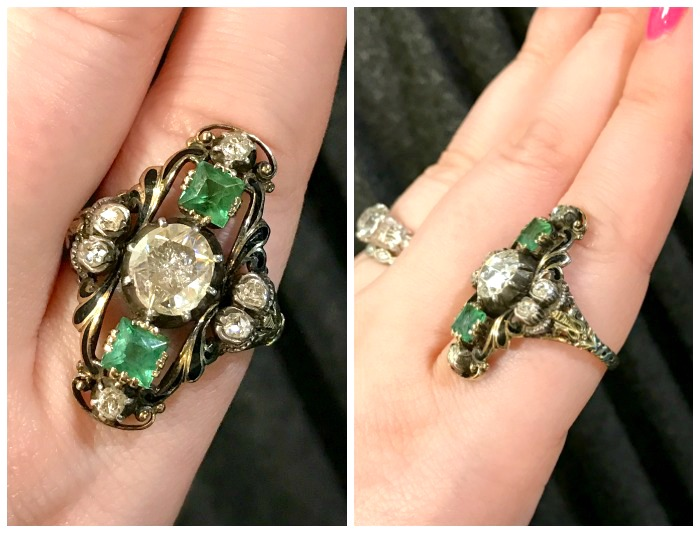 An utterly stunning antique emerald and diamond ring from the personal collection of jewelry dealer Marilyn and Co.