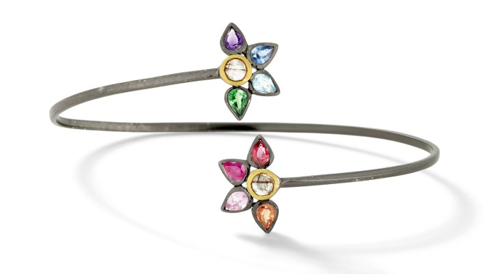 Fan bracelet by SheBee, with colorful sapphires and tourmillated quartz in silver and gold.