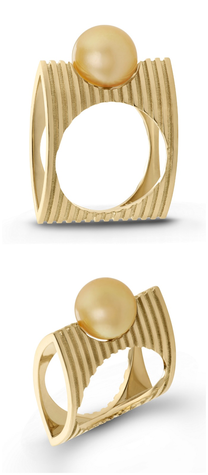 Pillow stripped South Sea pearl ring by Beolli for Vitae Ascendere.