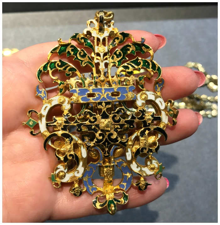 Stunning enamel details on the back of a huge Renaissance Revival pendant from the 1800's. Seen at Sam Sadian.