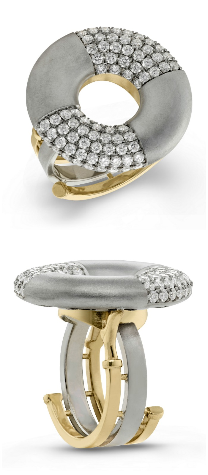 The Doughnut diamond ring by Beolli for Vitae Ascendere. With 1.7 carats of diamonds.