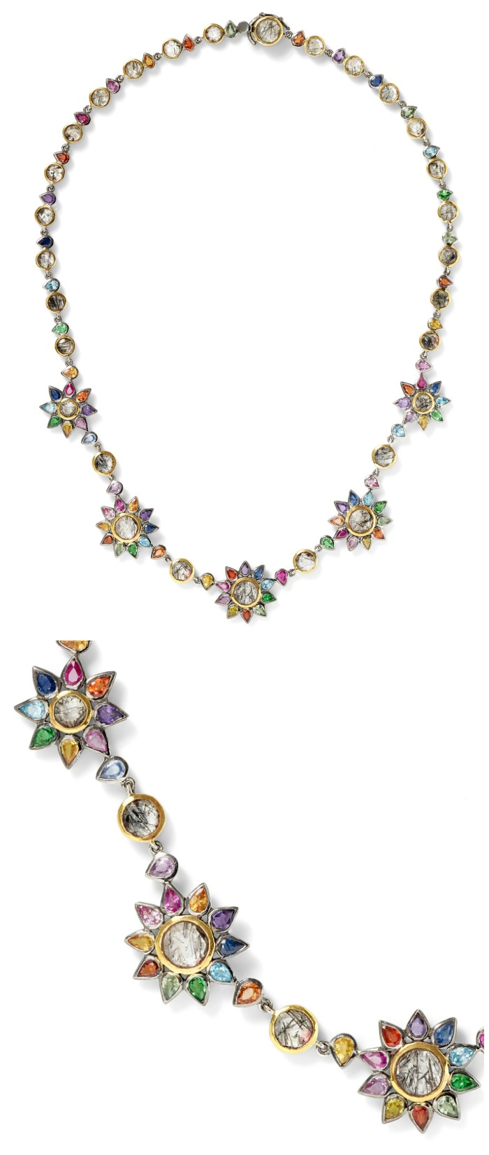 The fabulous Daisy Chain necklace by SheBee, with brightly colored sapphires and tourmillated quartz in silver and gold.