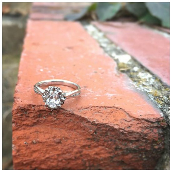 The wonderful Snowdrop oval diamond engagement ring by MaeVona.