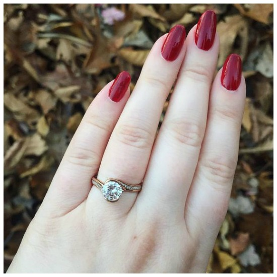 The wonderful rose gold Perth pave engagement ring by MaeVona.