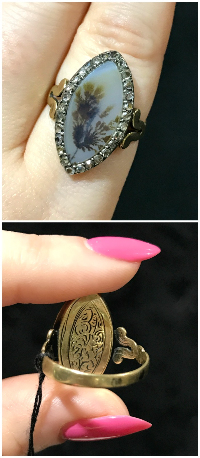 This antique agate and diamond ring from Craig Evan Small is as beautiful on the back as it is on the front! Seen at the Original Miami Antique Show.