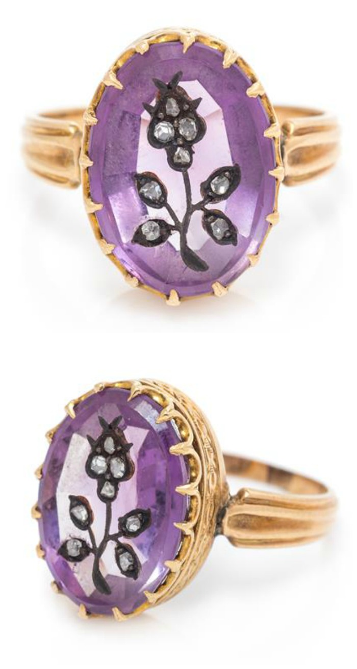 This vintage ring has a diamond flower inside a purple amethyst - and is set in beautiful rose gold.