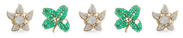Two standout brooches from Leslie Hindman's April jewelry auction.