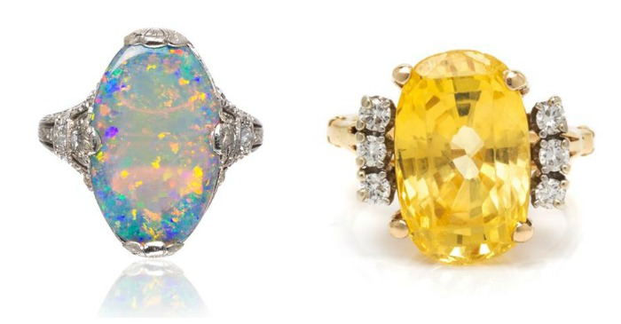 Two wonderful gemstone rings from Leslie Hindman's April jewelry sale - one opal, one yellow sapphire, both with diamonds.