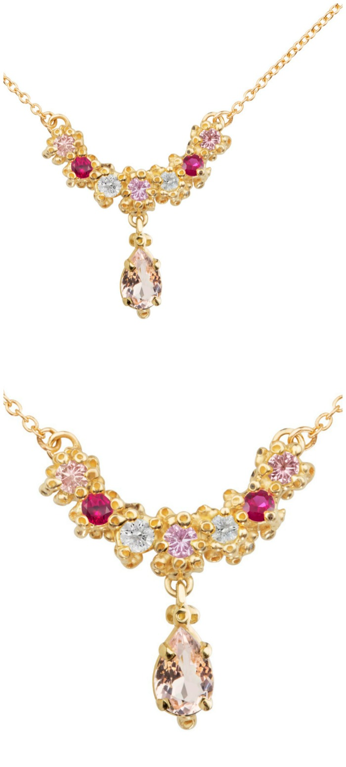 A beautiful handmade necklace by Ruta Reifen, with colorful gemstones in yellow gold.