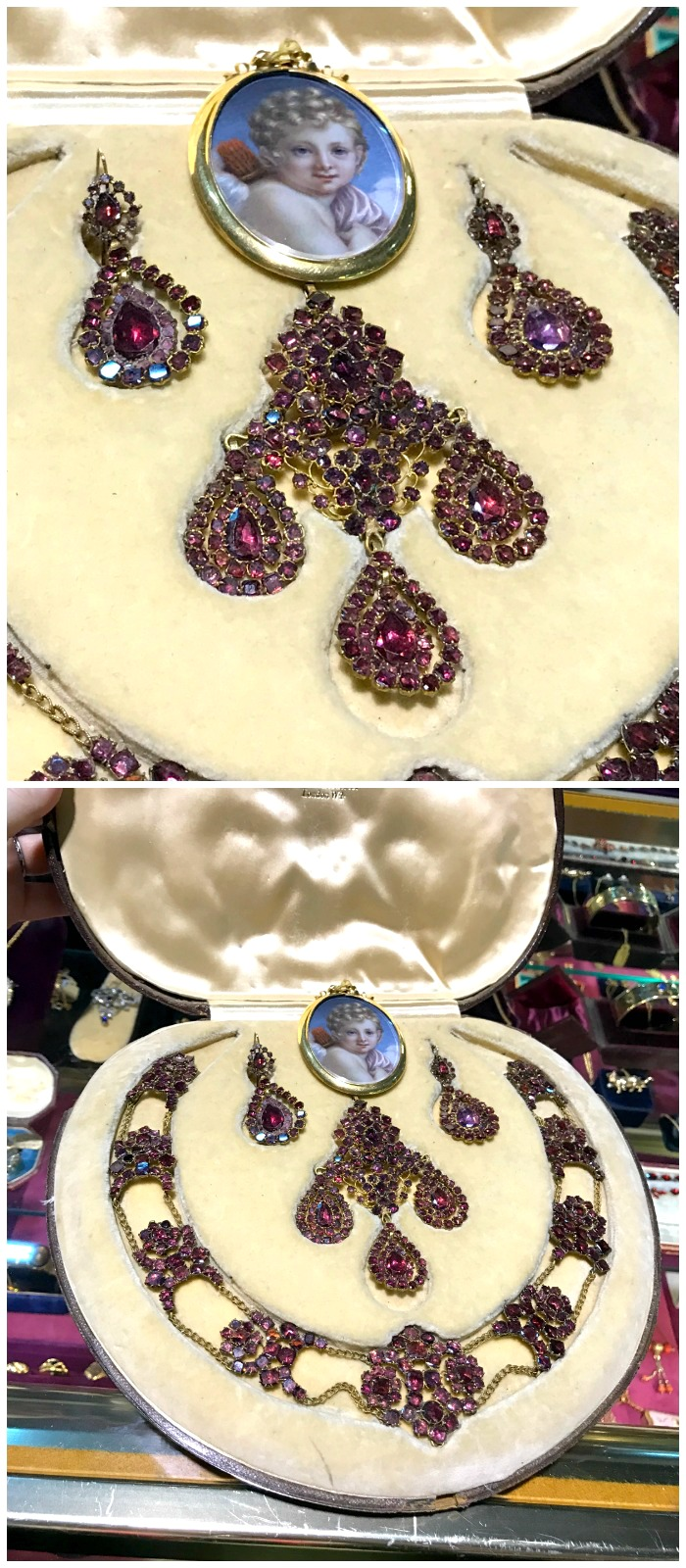 A magnificent antique set of jewelry from Lenore Dailey. Seen at the Original Miami Antique Show.