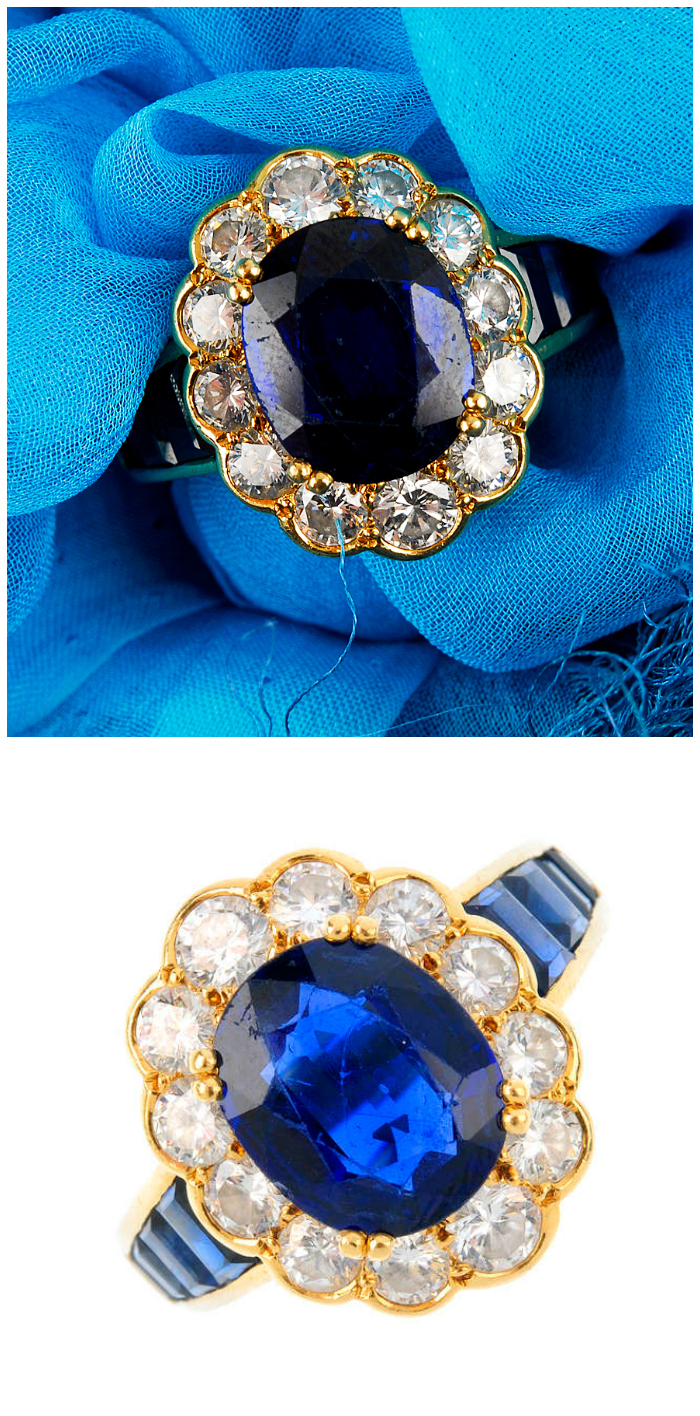 A sapphire and diamond cluster ring. This would be a great alternative engagement ring.