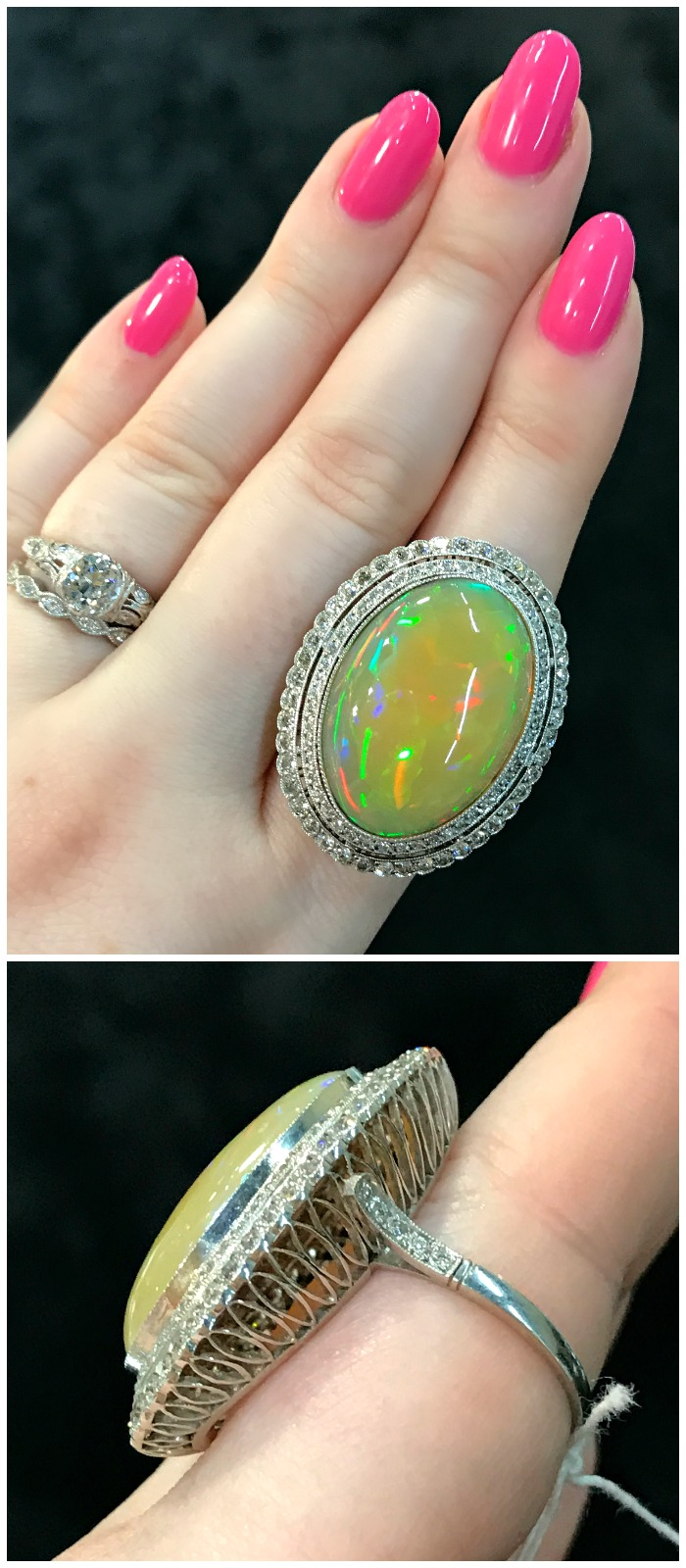 A stunning antique diamond and opal ring. Seen at Faerber NY at the Original Miami Antique Show.