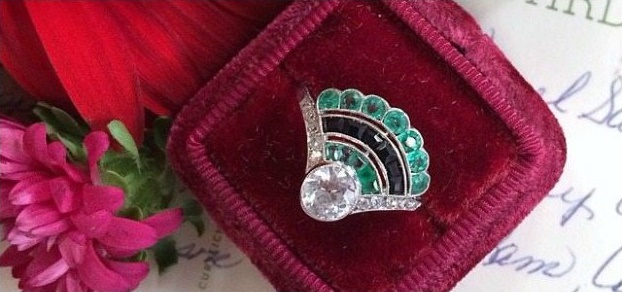 Amazing emerald, onyx, and diamond Art Deco fan ring.